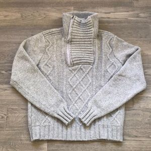 Le Château | Grey wool knit sweater with 1/4 zip in front
